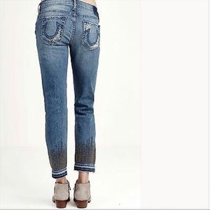 True Religion Cora Mid Rise Straight Cropped Jeans